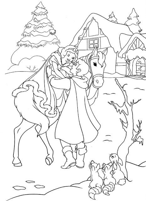 Blanca Nieves y príncipe con caballo