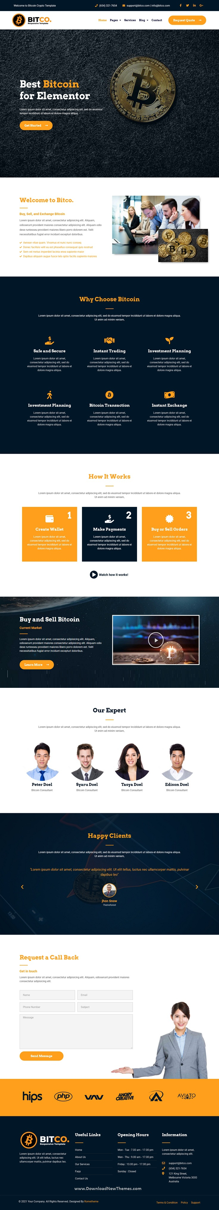 Bitcoin and Cryptocurrency Elementor Template Kit