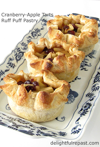 Mini Cranberry-Apple Tarts in Ruff Puff Pastry / www.delightfulrepast.com