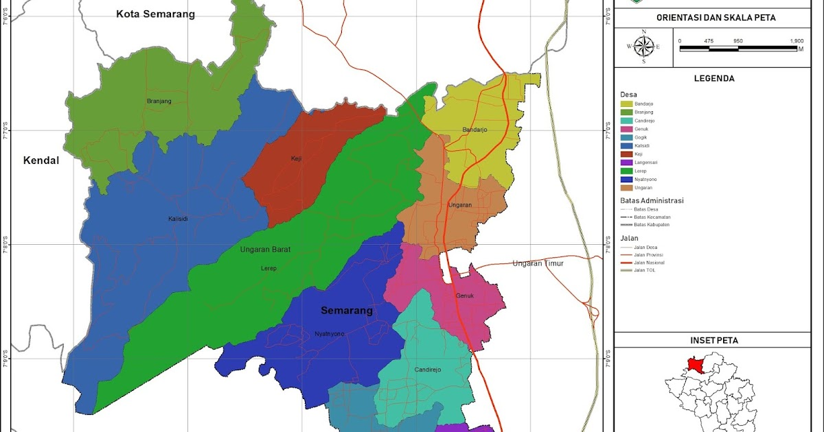 Peta Administrasi Kecamatan Ungaran Barat, Kabupaten ...