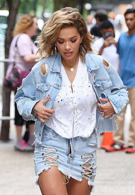 Rita Ora in Jeans Mini Skirt out in New York