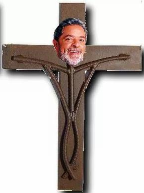 lula da silva pt crucificado jesus cristo divertido rir humor lol