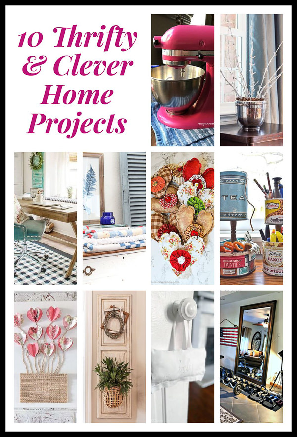 collage with various budget friendly decor projects