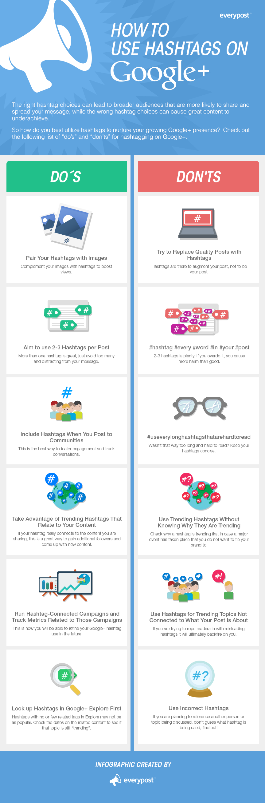 How to Use Hashtags on #GooglePlus: Dos and Don'ts - #infographic #socialmedia #marketing