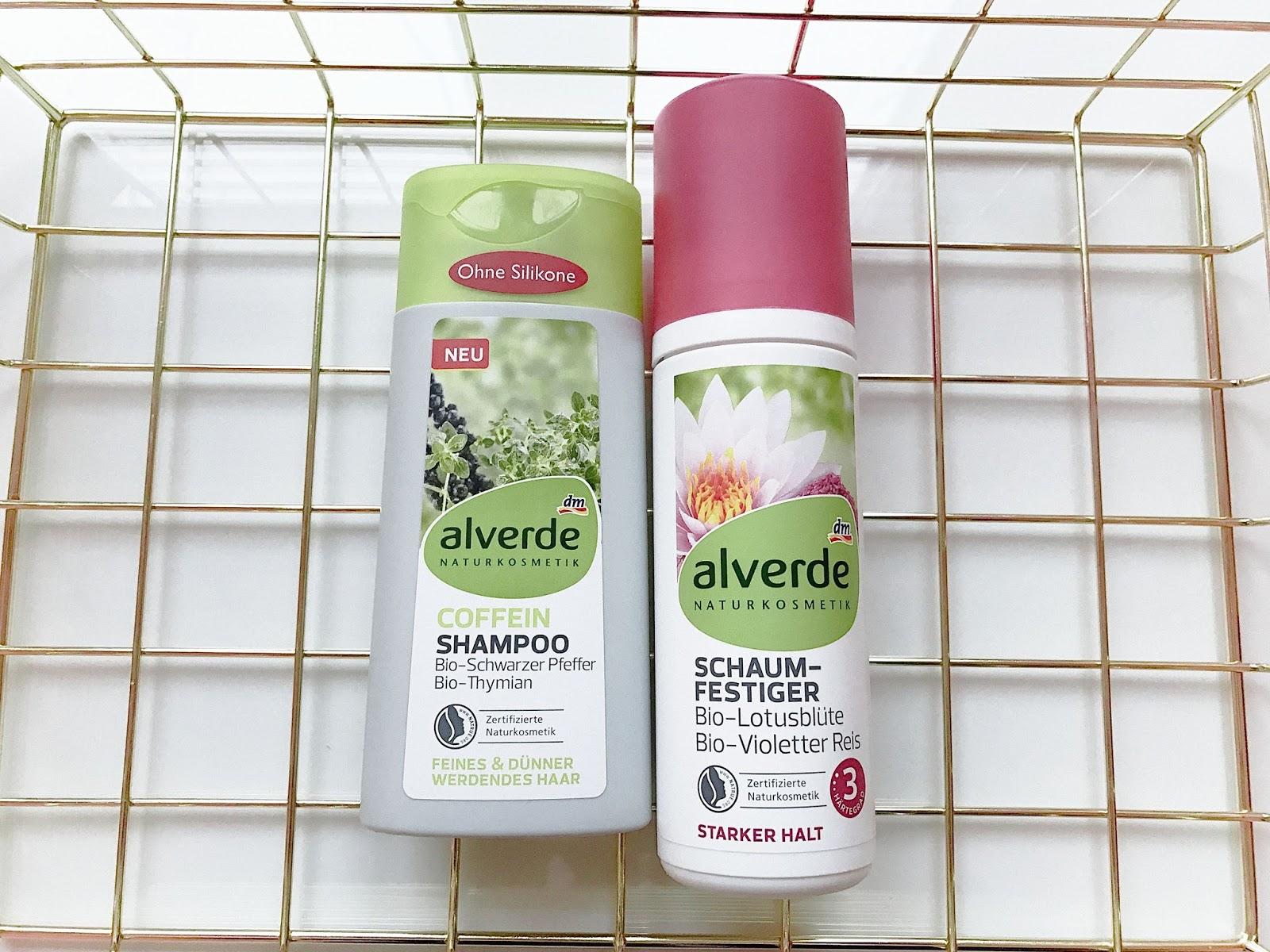 kosmetyki alverde, Alverde Coffein-Shampoo Grüner Kaffee, Alverde Schaumfestiger Starker Halt, Kofeinowy szampon Alverde, pianka do włosów Alverde, co kupić w DM, drogeria DM, kosmetyki z DM,