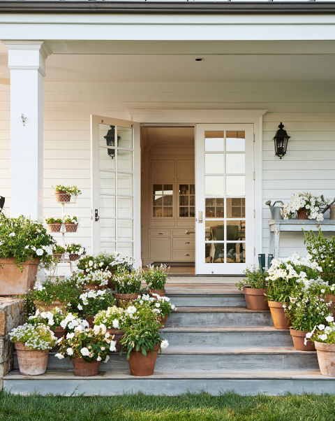 white front doors, french doors, front entrance