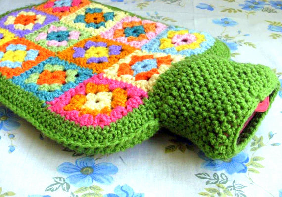 granny square hot bottle cosy crochet pattern