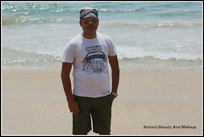 My husband Nabendu Chattopadhyaya at Candolim Beach, Goa