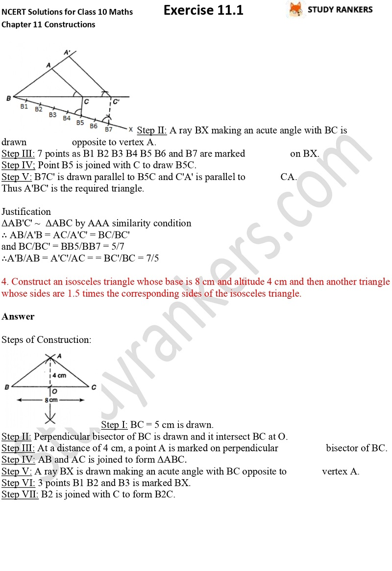 NCERT Solutions for Class 10 Maths Chapter 11 Constructions Exercise 11.1 Part 3
