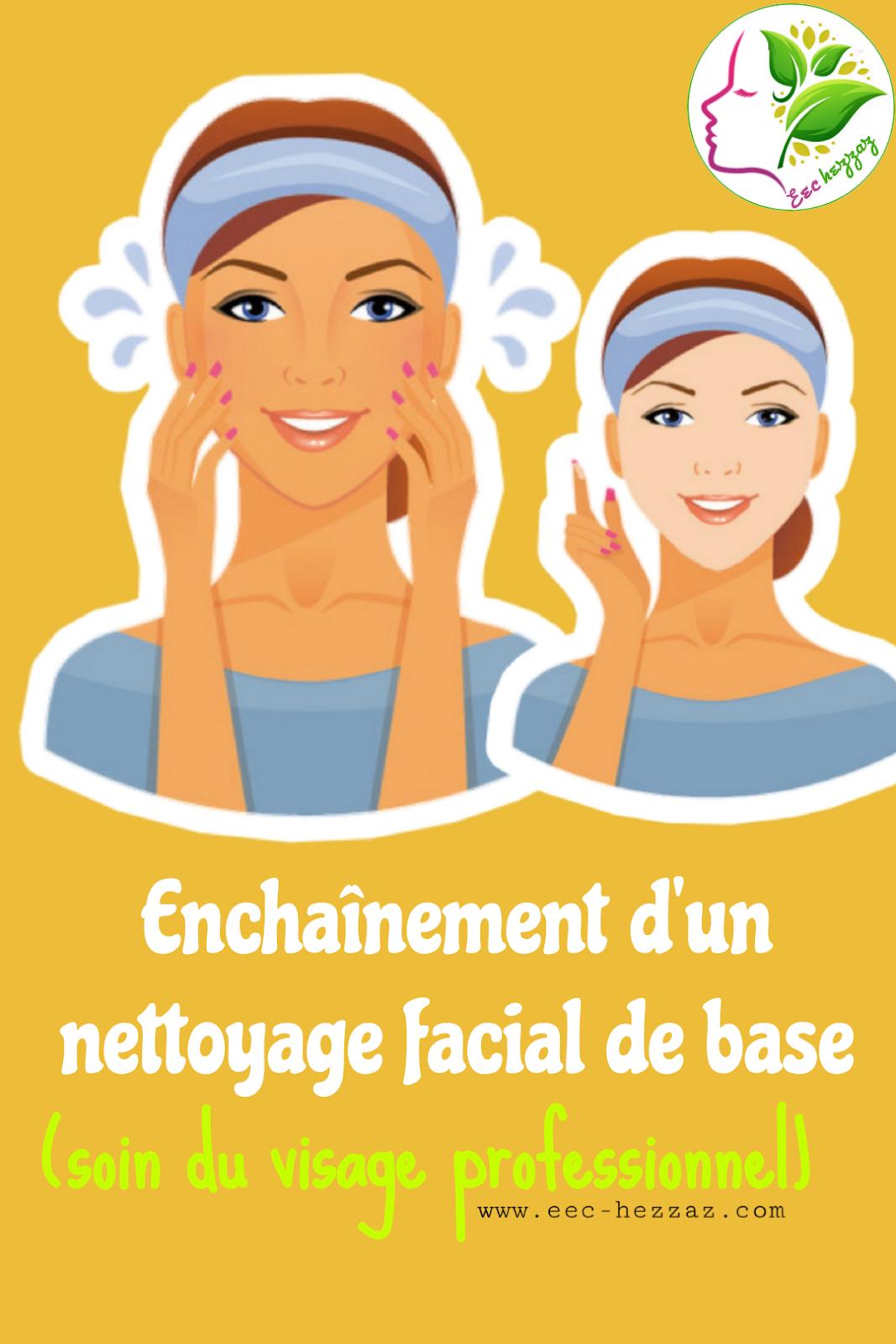 Enchaînement d'un nettoyage facial de base (soin du visage professionnel)