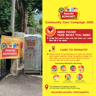 Details of the Ayam Brand community pantry in Penang, Pantri Komuniti, Kempen Komuniti Penyayang 2020, Ayam Brand, Food Pantry in The Children's Protection Society Penang,