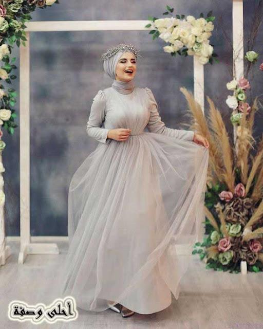 صور فساتين اعراس محبات 2021 ، احدث تشكيلة فساتين اعراس محجبات لجمالك