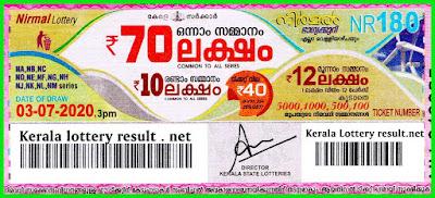 LIVE: Kerala Lottery Result 03-07-2020 Nirmal NR-180 Lottery Result