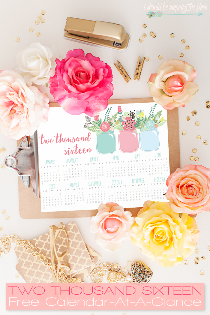 Free Printable 2016 Calendar At-a-Glance | Instant Download | 8x10 page
