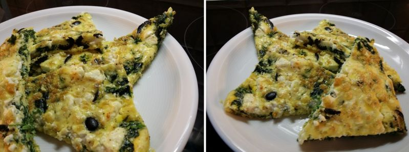 Spinat-Schafskäse-Oliven-Frittata.