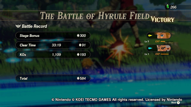 Hyrule Warriors Age of Calamity Battle of Hyrule Field demo battle record