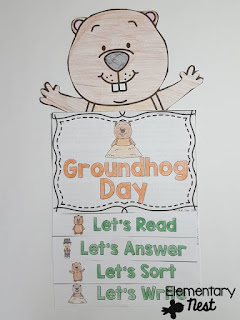 Groundhog Day Flip Book- February Activities and FREEBIES- activities for primary students- February reading, math, writing, social studies and more! Valentine's Day, Presidents Day, Black History Month, Dental Health Month