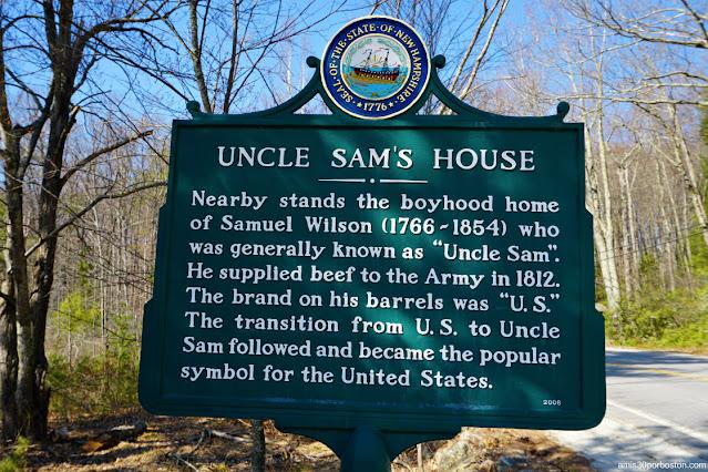 Placa en la Casa del Tío Sam en Mason, New Hampshire
