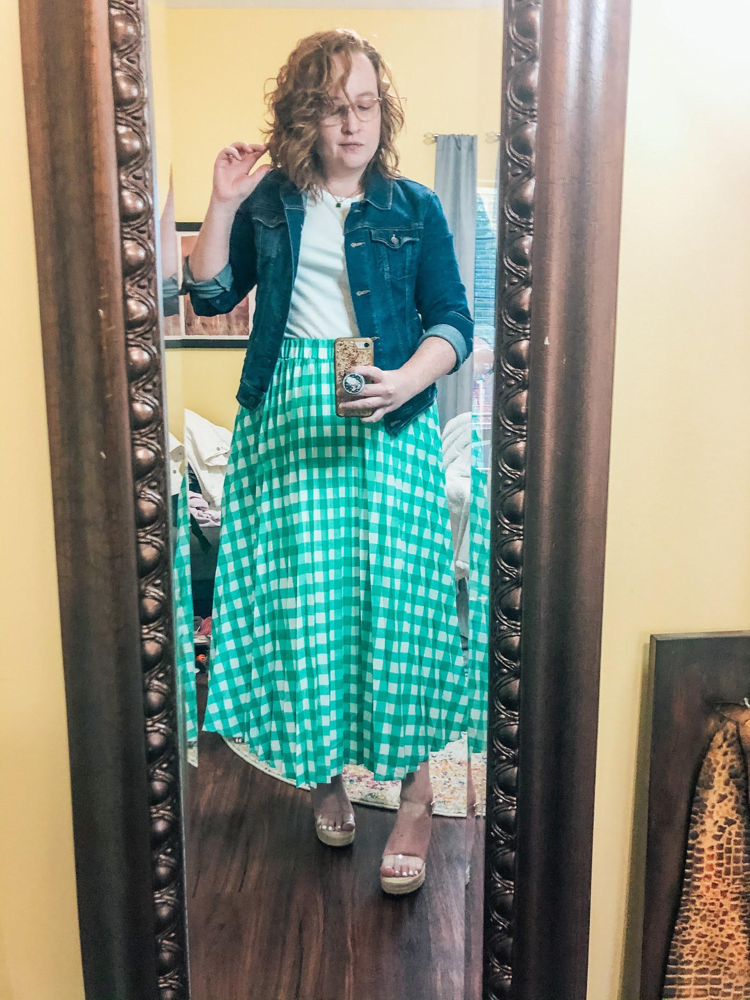 green-checked-skirt-white-tee-denim-jacket