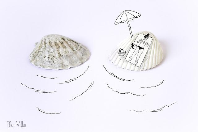 Dibujo a tinta, caracola, mar, mediterraneo, playa, vacaciones, algas, verano, tomar el sol, olas