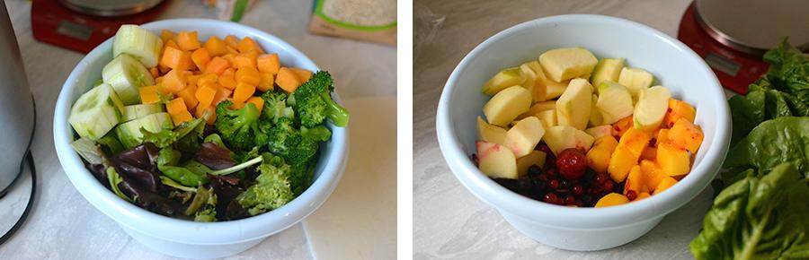 Barf Hundefutter Rationen portionieren Obst und Gemüse