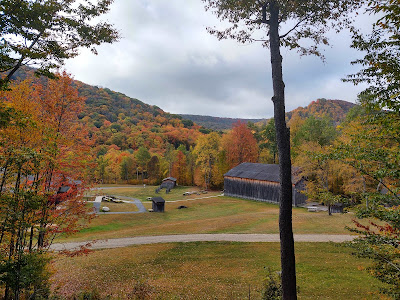 View of museum grounds with fall foliage all around