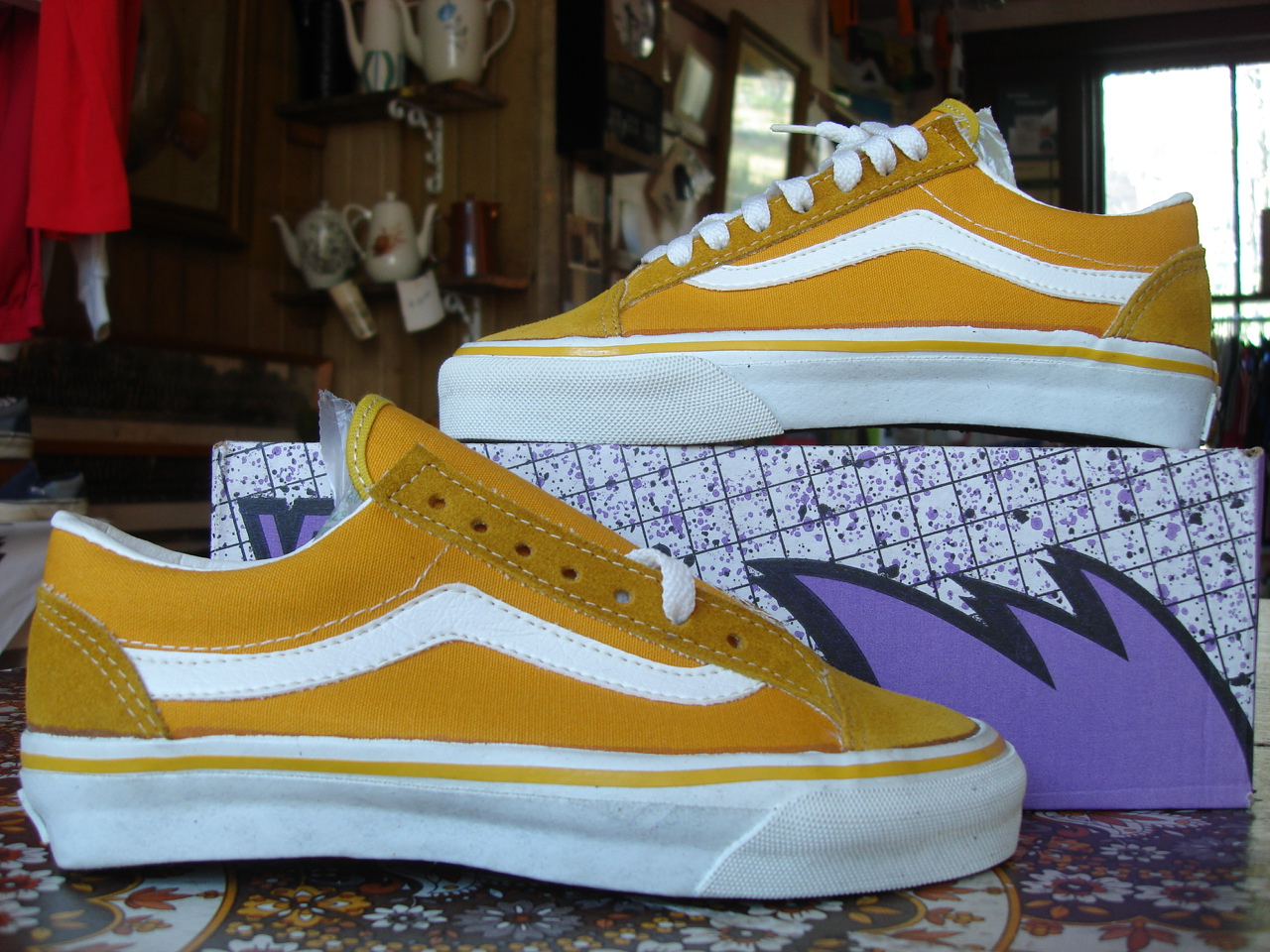 c915426445a vintage vans style  36 old skool mustard suede canvas made in usa circa 1990  new in box. US5 UK4.5