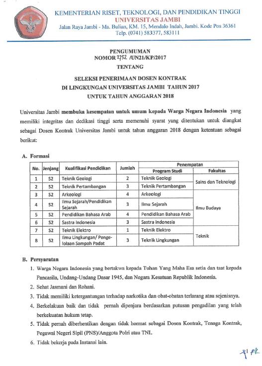 Lowongan Dosen Kontrak Teknik Geologi, Pertambangan dll Universitas Jambi 2018