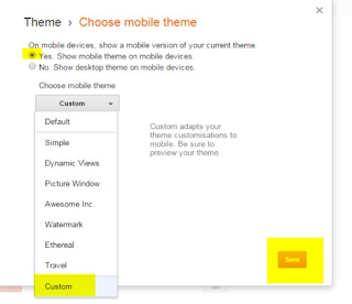 Go to custom activate mobile view than save