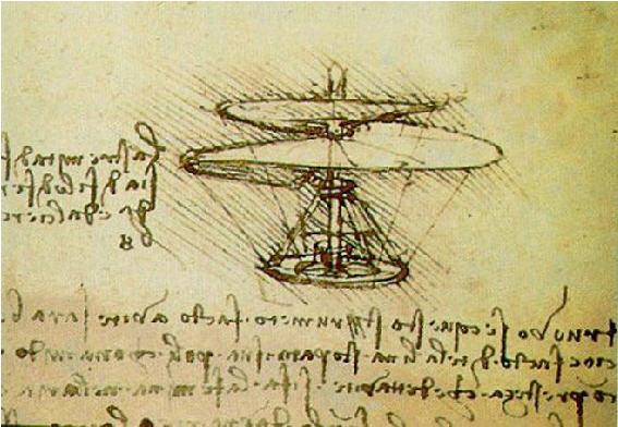 Desenho original do Helicóptero de DaVinci - Original drawing of DaVinci's Helicopter