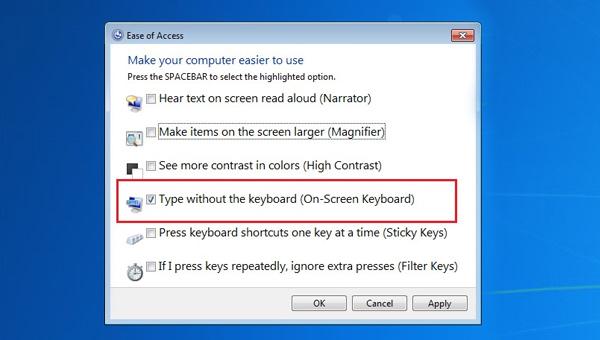 شاشة لوحة المفاتيح سهولة الوصول
