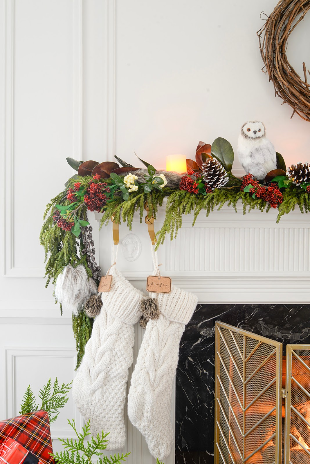 A Christmas Fireplace Mantel Garland Rambling Renovators
