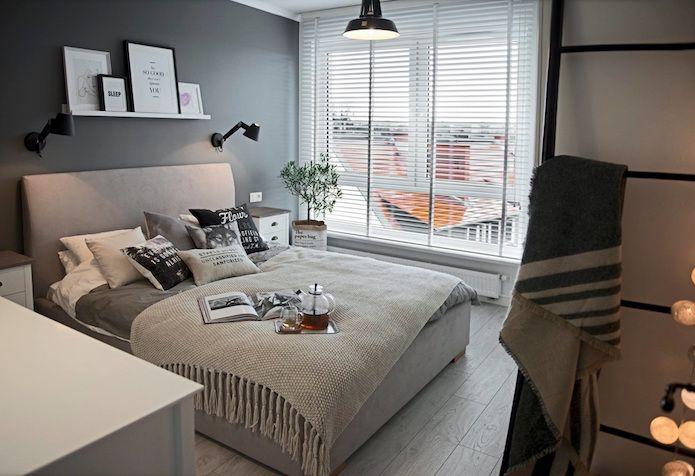 dormitorio en gris, blanco y negro