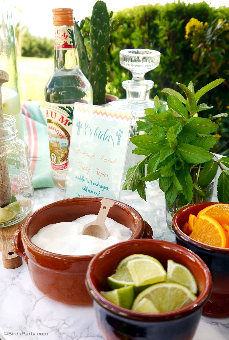 A DIY Mojito Bar with Recipe & Free Printables - BirdsParty.com