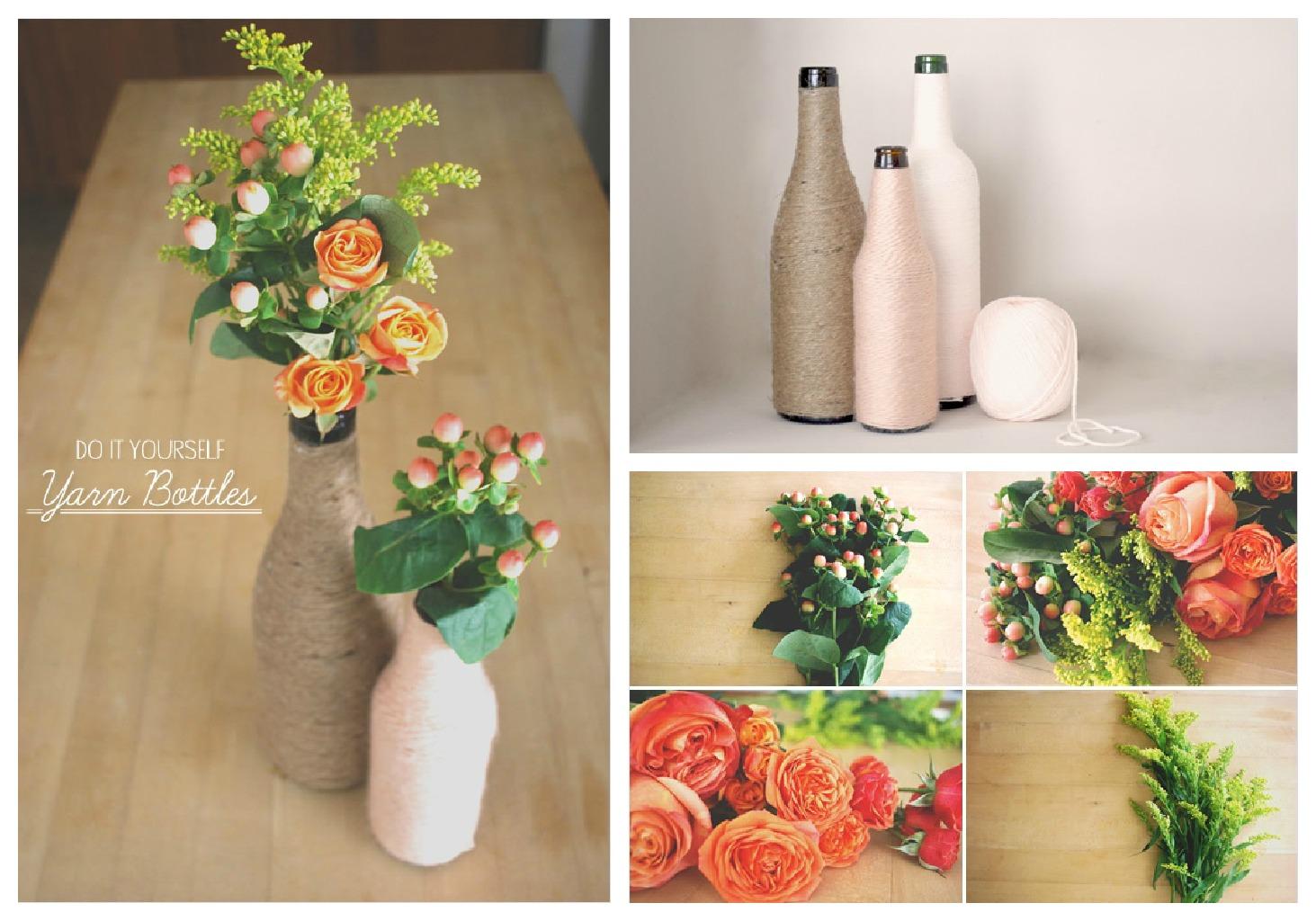 DIY Yarn Wrapped Bottles // Home Decor