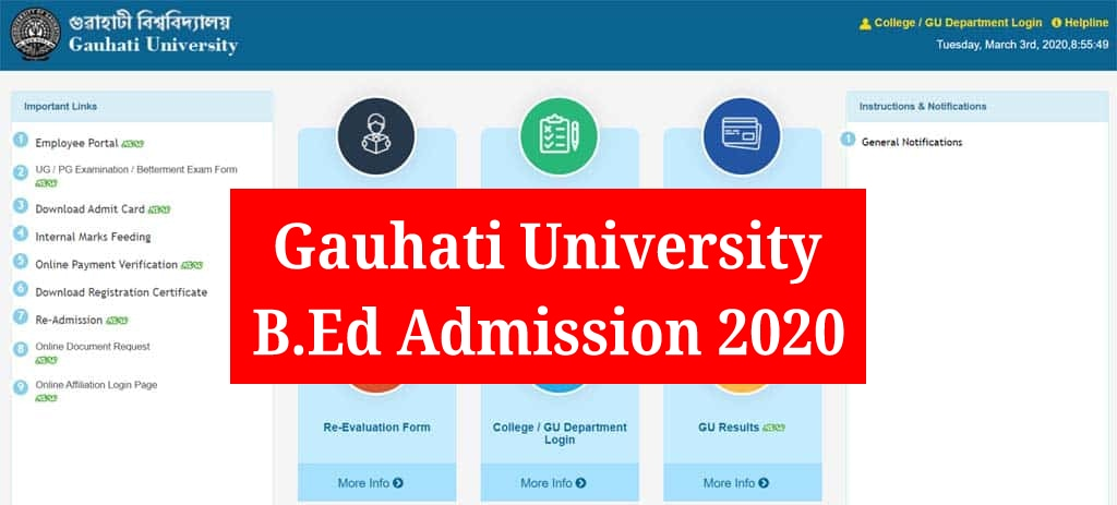 Gauhati University (GU) B.Ed Admission 2020: GUBEDCET Online Apply