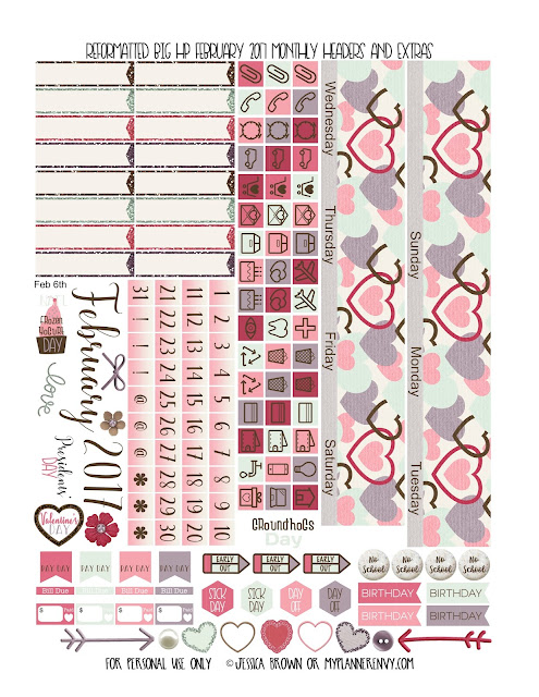 Reformatted February 2017 Monthly Headers & Extras for the Big Happy Planner from myplannerenvy.com
