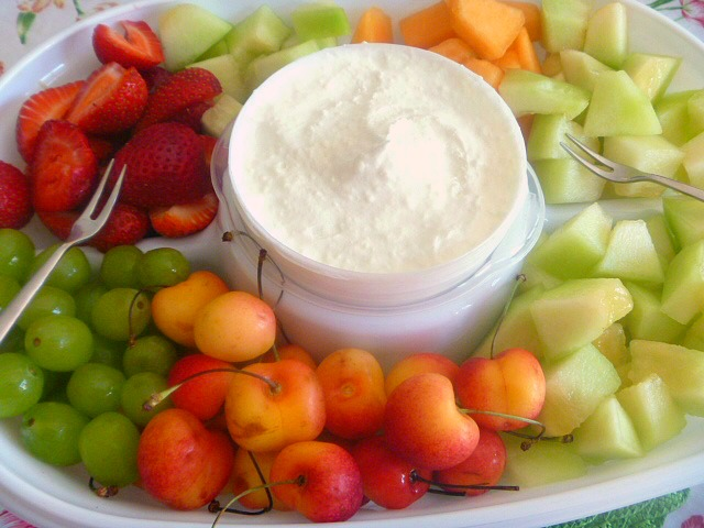 Creamy Coconut Fruit Dip:  With only 3 ingredients you can have a delicious creamy coconuty fruit dip that pairs with any fruit! Slice of Southern