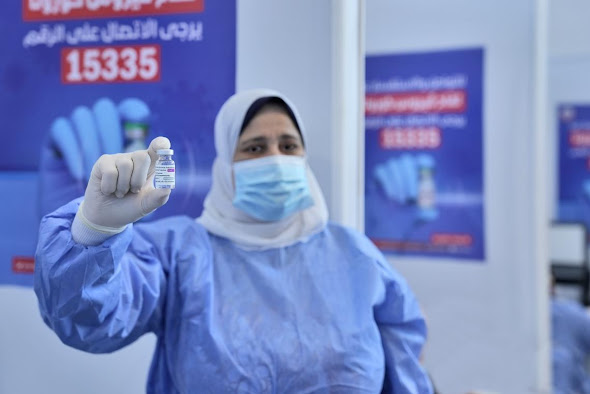 """At Nasr City's Cairo Convention Center that turned into a vaccination centre """"UNICEF"""""""
