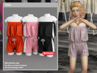Girl Romper Kid F for The Sims 4