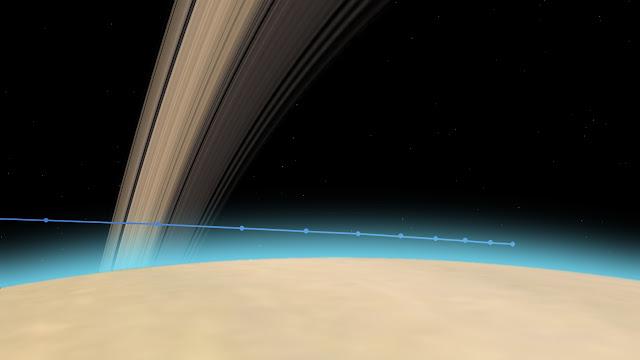 Đường đi của tàu Cassini vào thượng tầng khí quyển Sao Thổ. Mỗi điểm chấm cách nhau 10 giây bay. Đồ họa: NASA/JPL-Caltech.