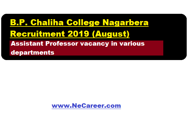 B.P. Chaliha College, Nagarbera Recruitment 2019 (August) |  Assistant Professor Vacancy