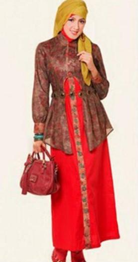 Model baju batik kantor wanita muslim desain terbaru Gambar baju gamis batik wanita