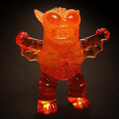 "MondoCon 2015 Exclusive ""Halloween Orange"" Infected Mini Greasebat Glow in the Dark Resin Figure by Monster Worship x Scott Wilkowski x Jeff Lamm"