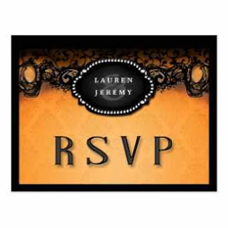 Halloween Orange & Black Elegant Matching RSVP Wedding Postcard
