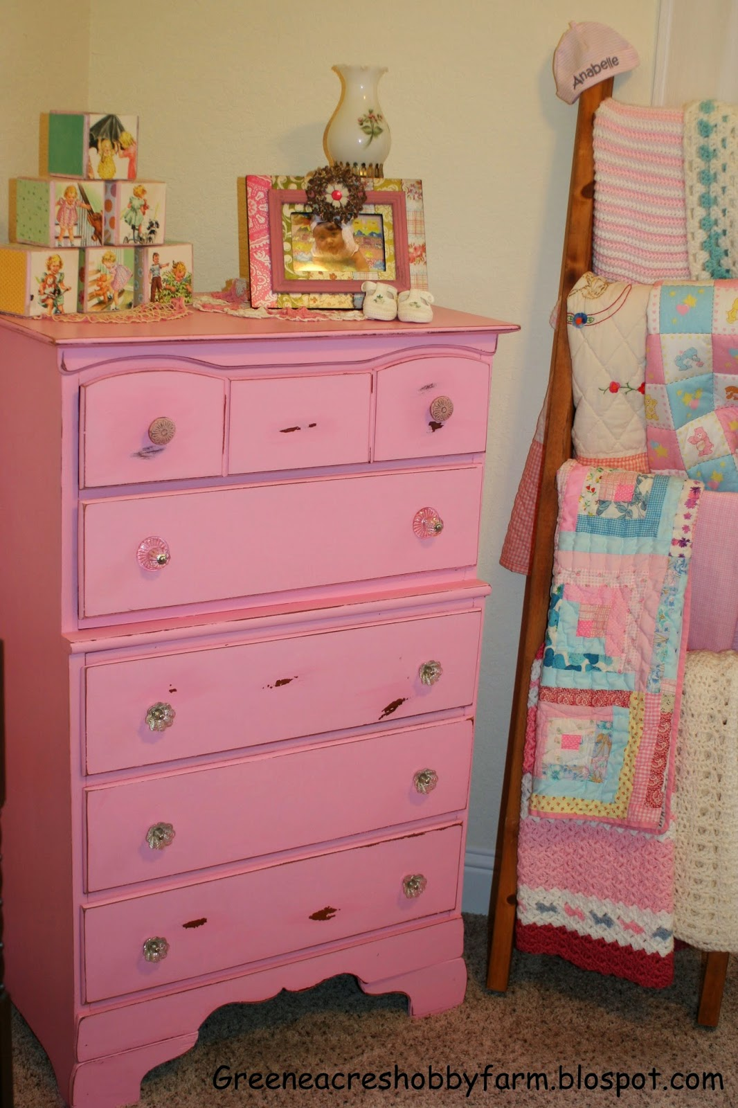 I Scuffed Up The Pink Dresser A Bit With Sander For Vintage Look