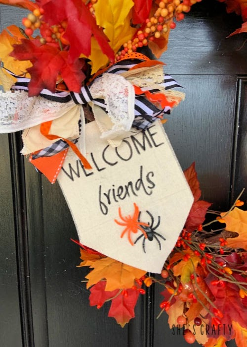 How to make a Fall Grapevine Wreath with fabric flag and junk bow