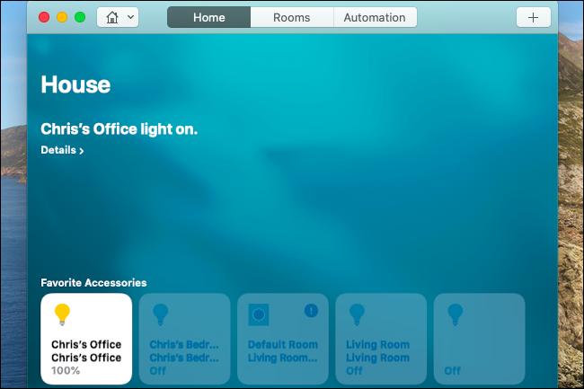 التحكم في أضواء Hue في تطبيق Home على جهاز Mac.