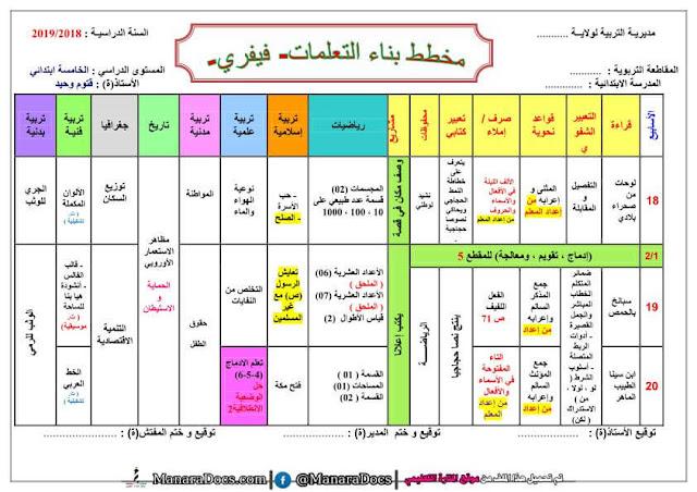 مخطط بناء التعلمات لشهر فيفري للسنة الخامسة المكيفة مع الجيل الثاني word