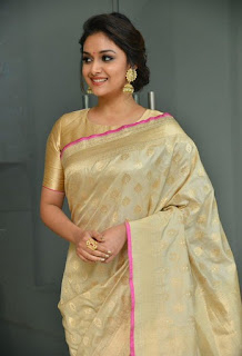 Keerthy Suresh in Saree with Cute Smile in Pandem Kodi 2 Audio Launch 2
